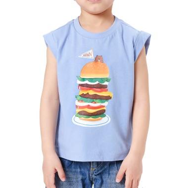 스카이블루 버거 브라운 키즈 민소매 티셔츠