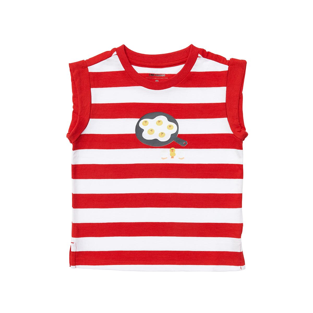레드 스트라이프 후라이 샐리 키즈 민소매 티셔츠