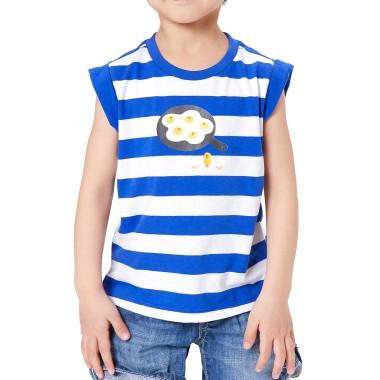 블루 스트라이프 후라이 샐리 키즈 민소매 티셔츠