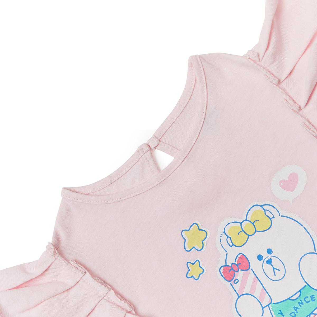 베이비핑크 초코 키즈 셔링 민소매 티셔츠