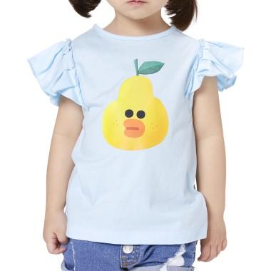 베이비블루 과일 샐리 키즈 셔링 민소매 티셔츠