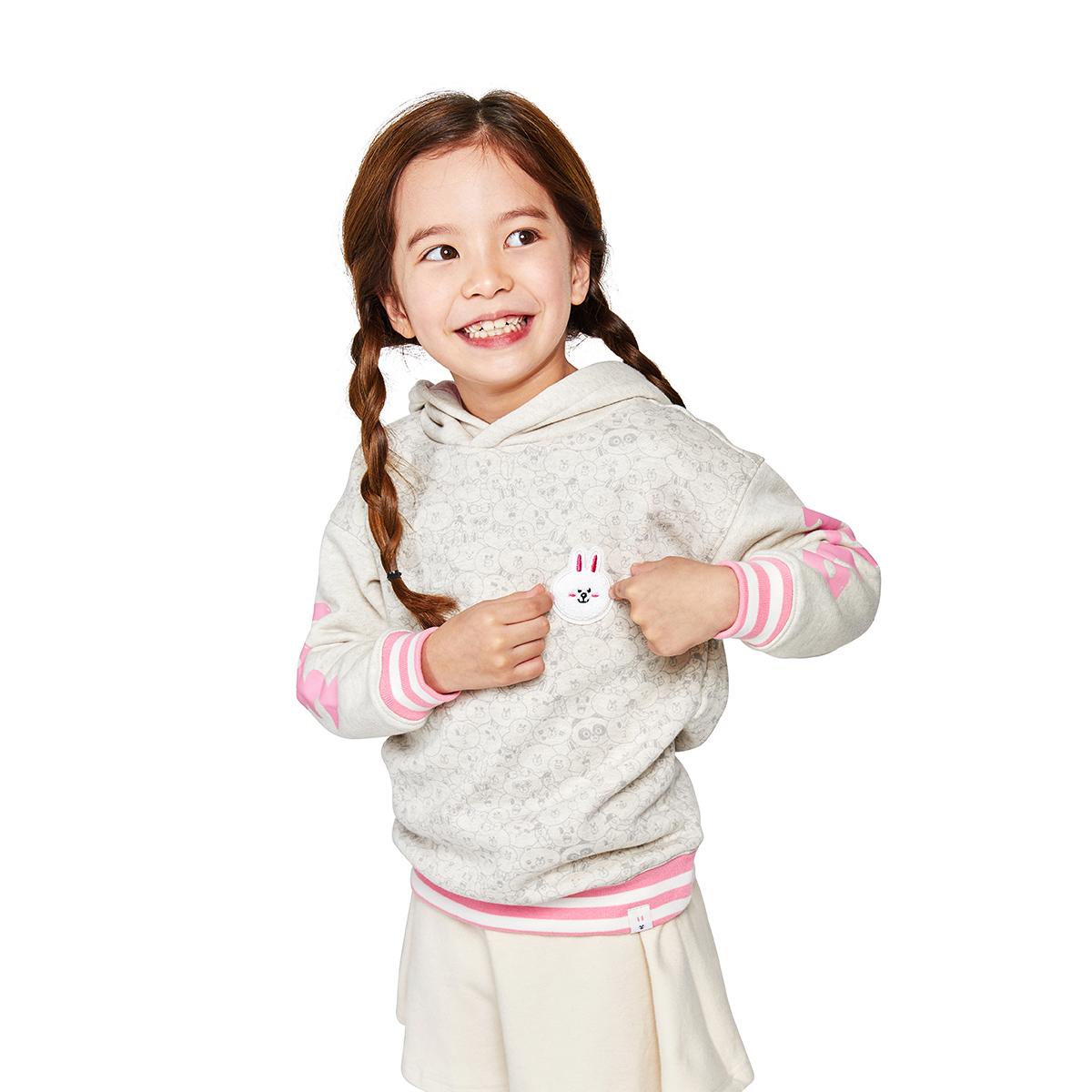 코니 키즈 면 기모 후드 티셔츠