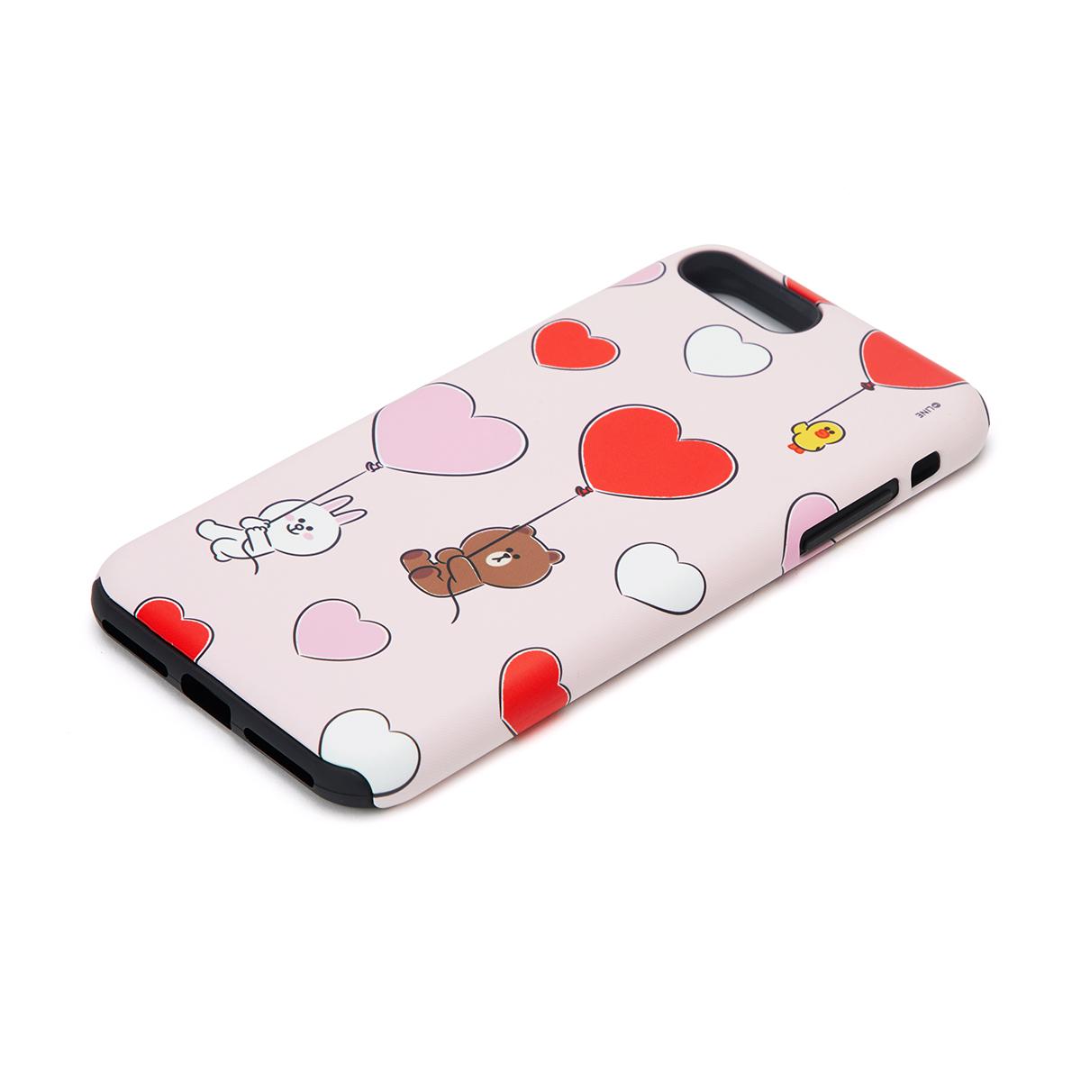 [아이폰 8 Plus] 핑크 브라운&프렌즈 하트 풍선 이중 범퍼 케이스