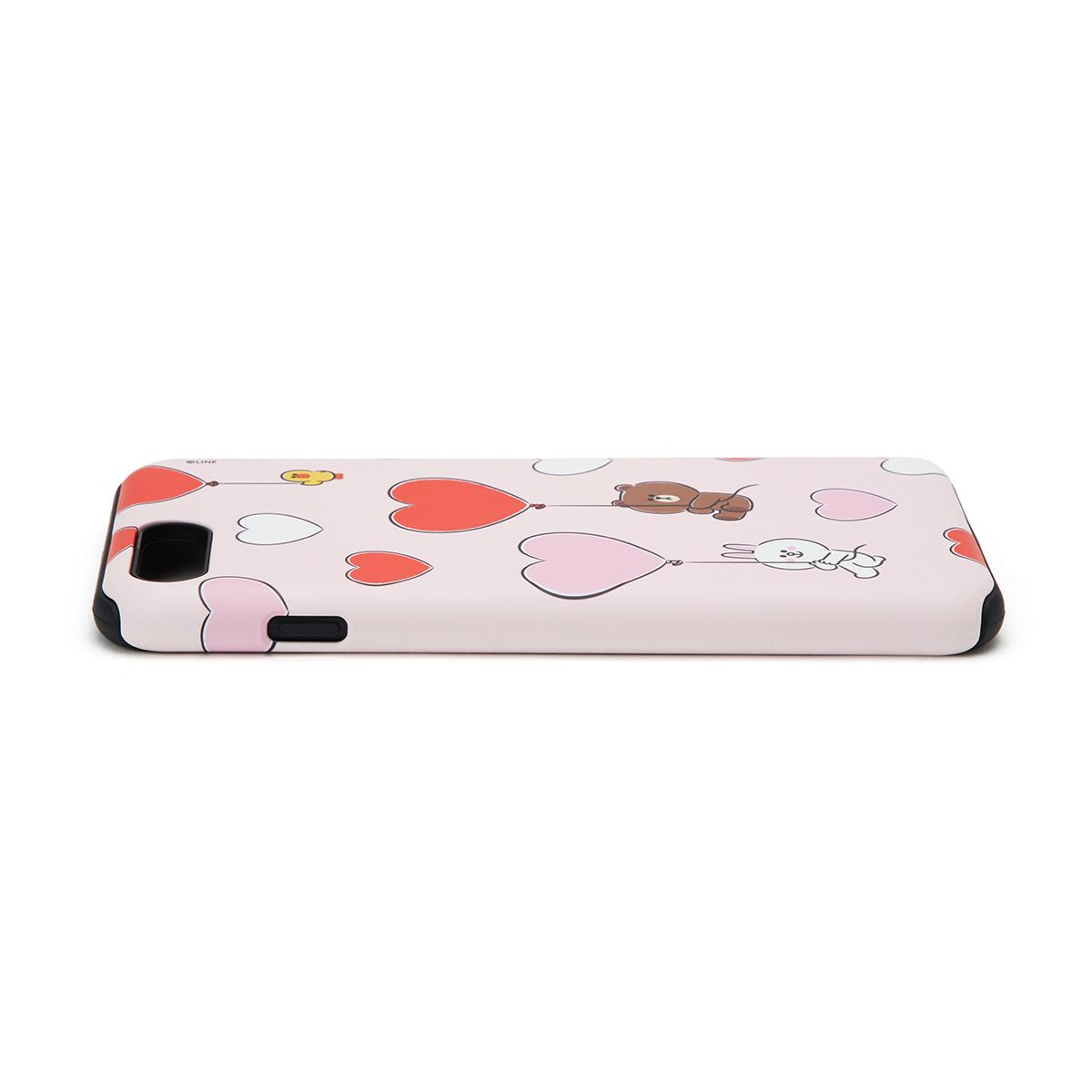 [아이폰 8 Plus] 핑크 브라운앤프렌즈 하트 풍선 이중 범퍼 케이스