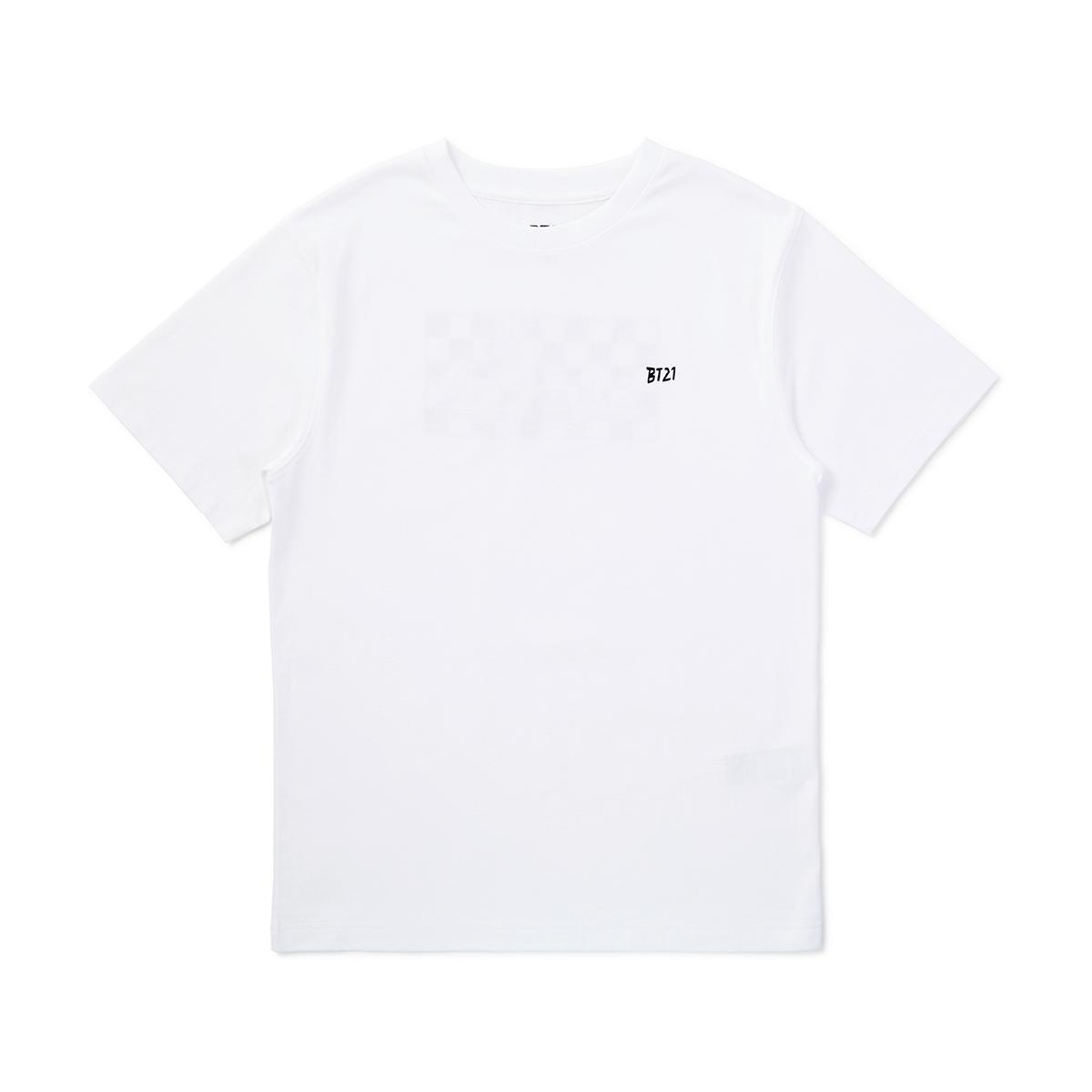 BT21 화이트 바이트 스퀘어 그래픽 반팔 티셔츠