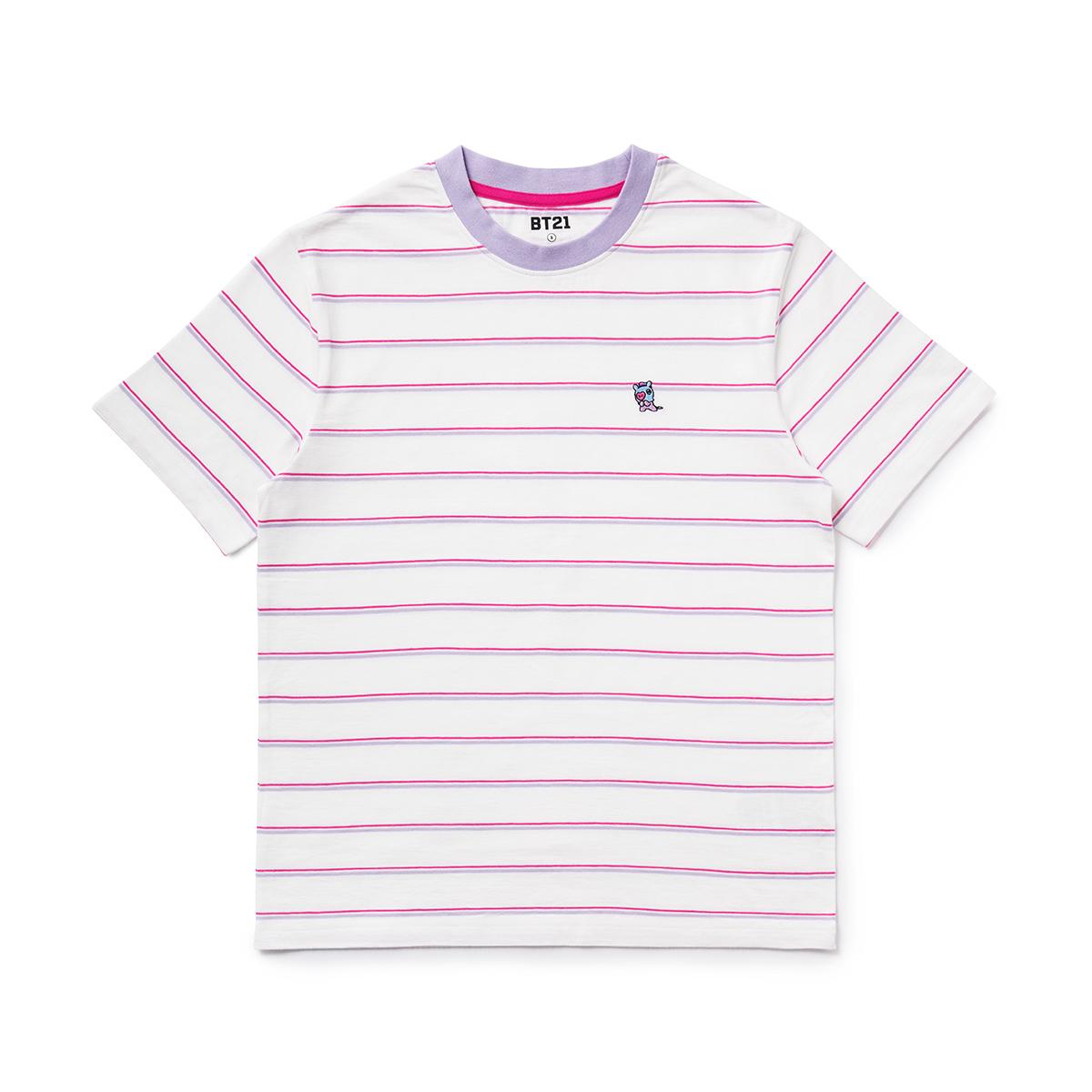 BT21 MANG 베이직 스트라이프 반팔 티셔츠