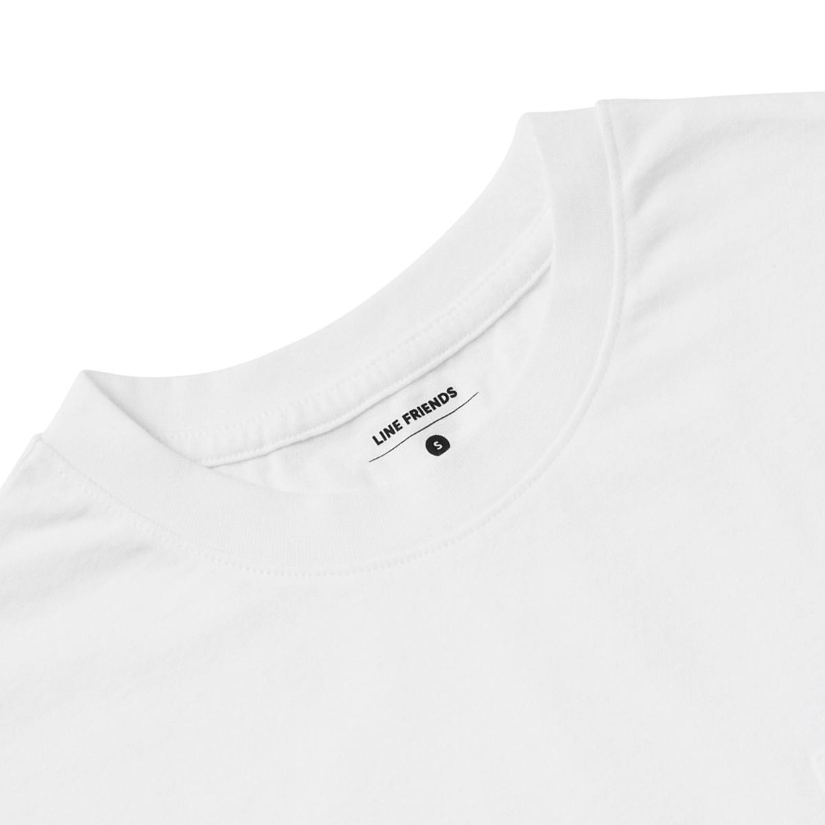 화이트 에그 후라이 샐리 포켓 반팔 티셔츠