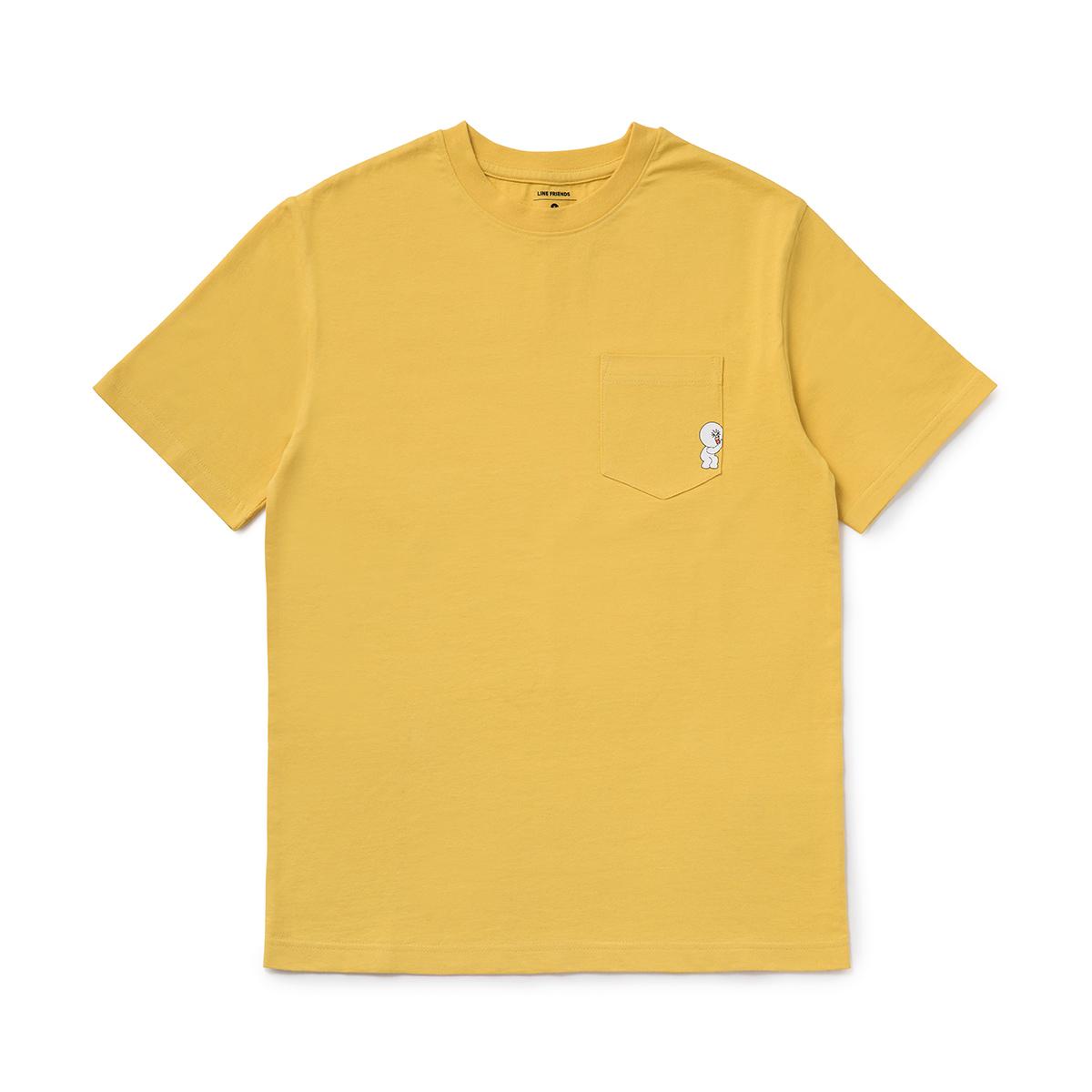 옐로우 헬프미 문 포켓 반팔 티셔츠