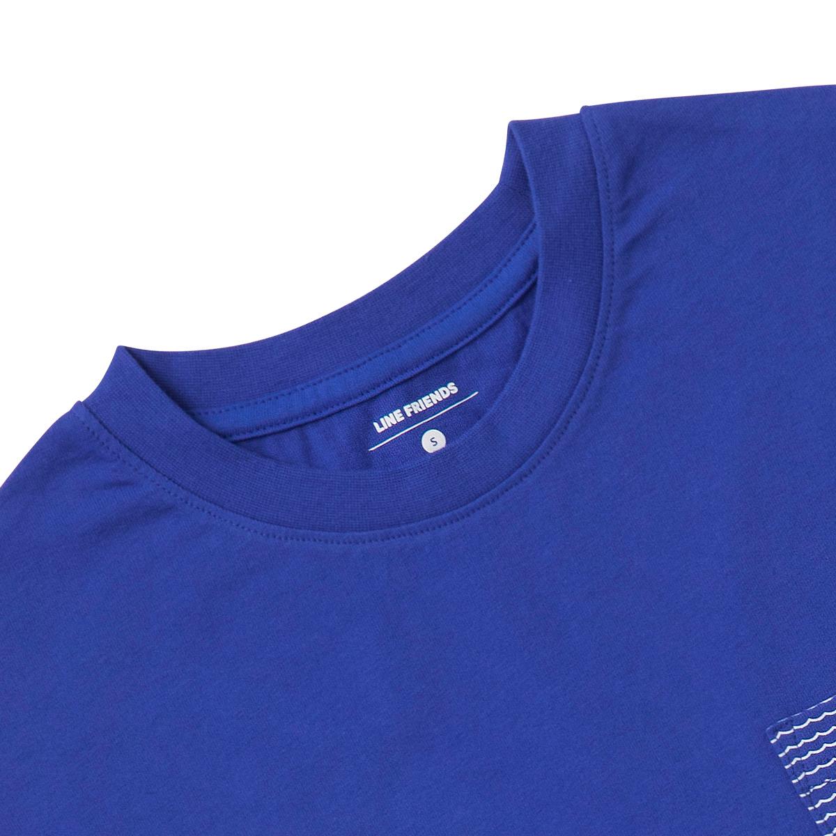 블루 서핑 브라운 포켓 반팔 티셔츠